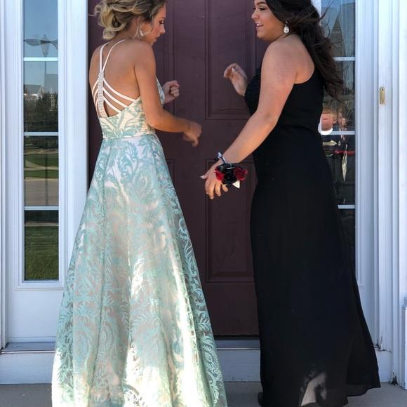 Full Length Halter Prom Dress Semi Open Back
